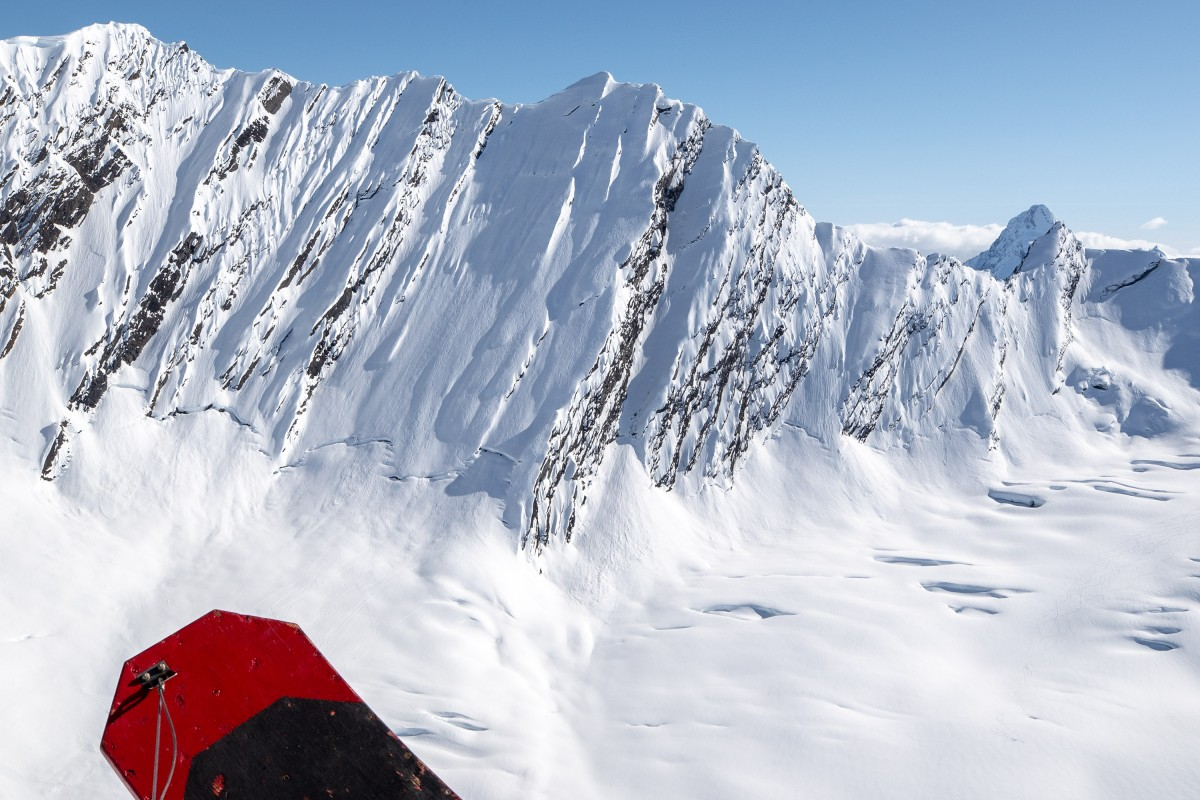 Looking at The Wall, for those serious about doing technical glacier ski camps in the Chugach and Valdez, Alaska.
