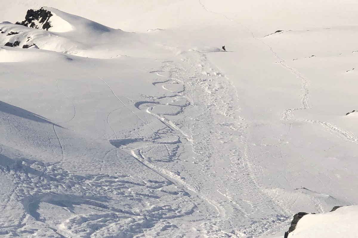Looking down after carving some beautiful lines in the Chugach backcountry out of Valdez.