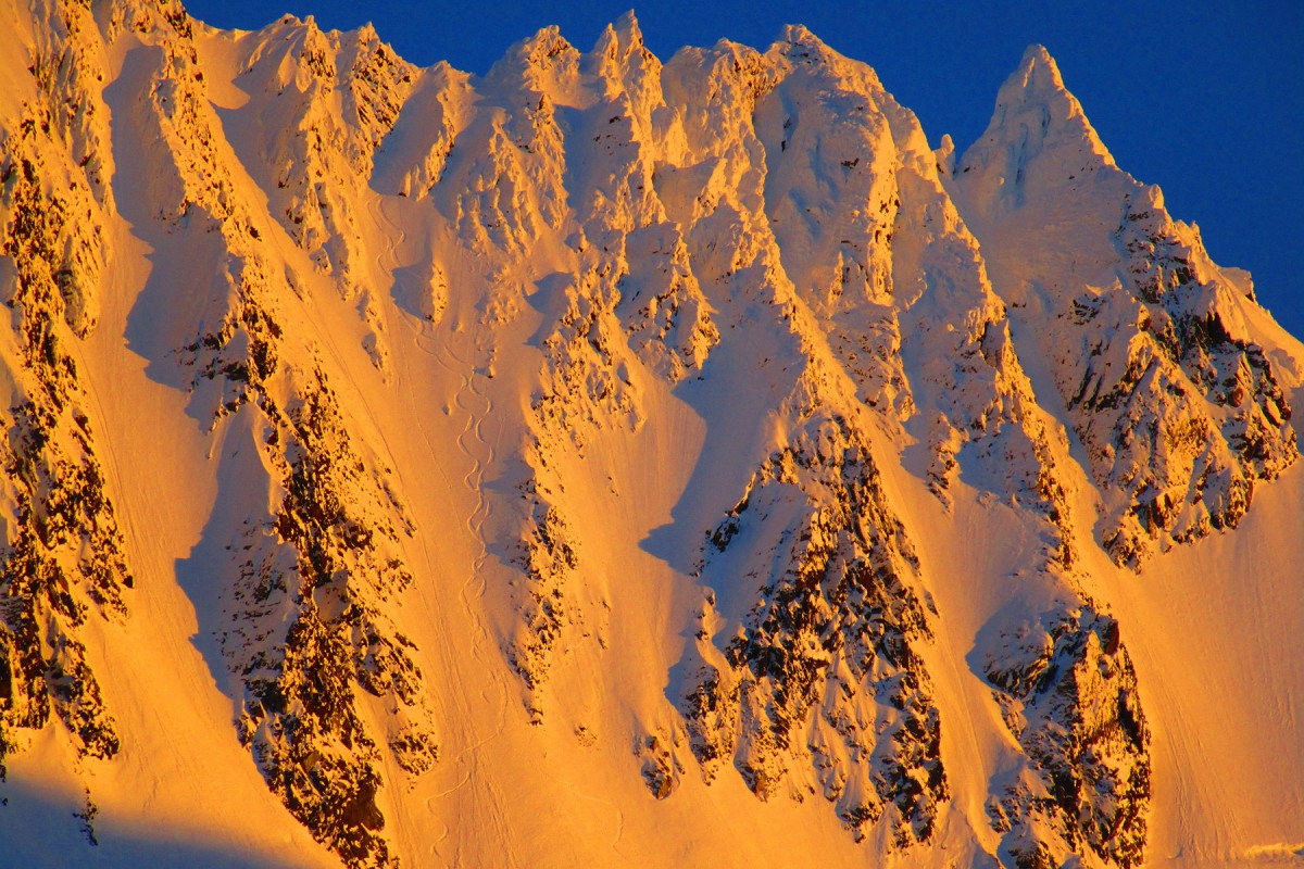 Little Pyramid, backcountry ski lines in the sunset.
