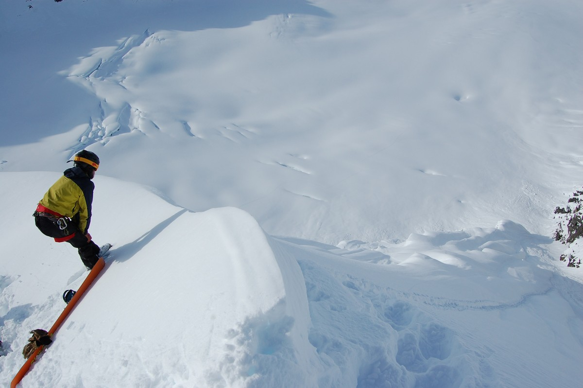 Looking down one of the lines on Rhett Face, in the Chugach outside of Valdez.