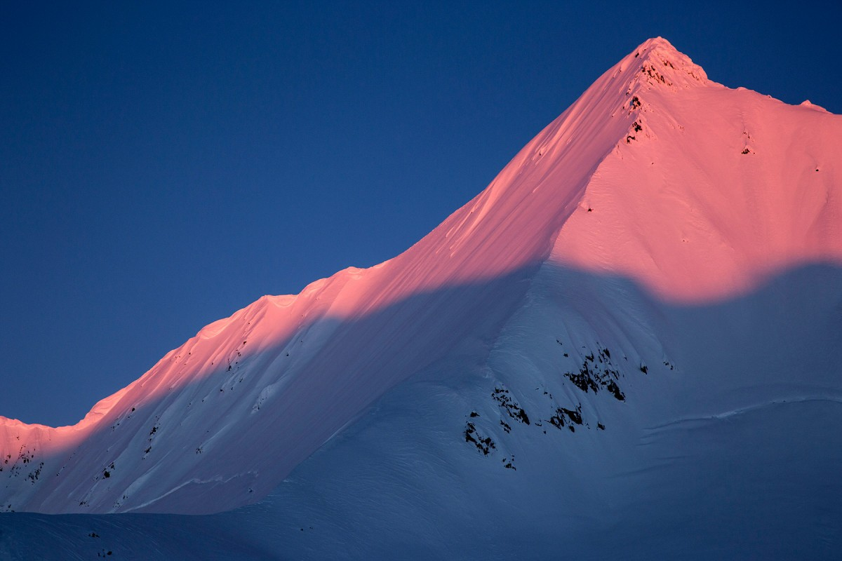Looking out as the Sunsets on Pyramid while doing a Valdez Alaska glacier ski camp.