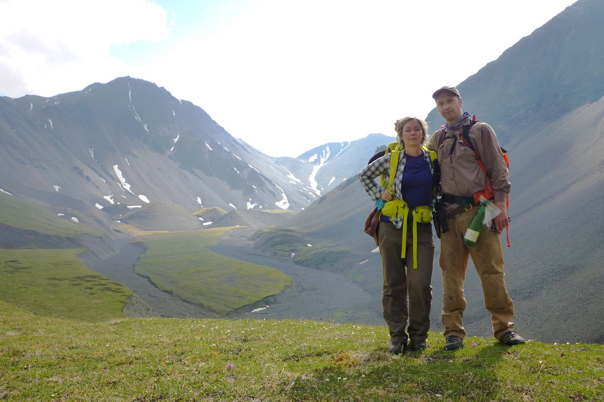 Alpine backpacking in the backcountry wilderness of Wrangell-St. Elias National Park.